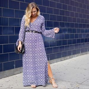 Blue Patterned Long Sleeve Maxi